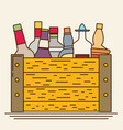 flat bottles in a box with long shadow vector image vector image