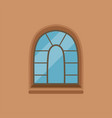 flat house arched window on brown wall vector image