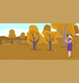 girl holds a basket with mushrooms forest glade vector image