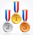 gold silver and bronze medals 123 vector image vector image