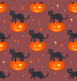 halloween pumpkin head with black cat pat pattern vector image vector image