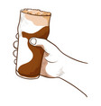 hand holding beer beverage and drink for party vector image