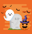 happy halloween card with gosth vector image