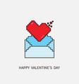 happy valentines day 8 bit pixel heart and email vector image