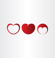 heart red love icon set collection vector image