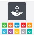 Idea insurance sign Hand holds lamp bulb symbol vector image