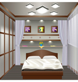 interior bedroom with a window with curtains vector image vector image