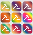 judge or auction hammer icon Nine buttons with vector image