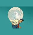 man carries big moon vector image vector image