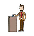 man in a suit businessman putting paper in the vector image vector image