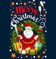 merry christmas holiday santa greeting card vector image vector image