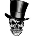 moustached skull in a hat vector image