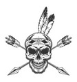 native american indian warrior skull vector image vector image