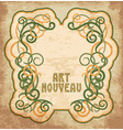 old invitation card in art nouveau style vector image vector image