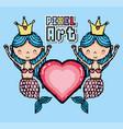 pixel art aquatic world cartoons vector image vector image