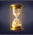 realistic hourglass with golden sand vector image vector image