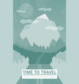 retro road with mountain and forrest vector image vector image