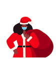 santa woman in mask holding sack full gifts new vector image