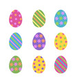 set of cute various colorful painted easter eggs vector image