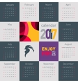 Simple calendar 2017 with rooster symbol of 2017 vector image vector image