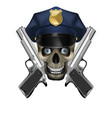 skull in a police cap and silver pistol vector image vector image