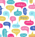 Speech bubbles with Hello on different languages