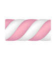 striped marshmallow icon realistic style vector image vector image