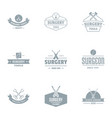 surgery logo set simple style vector image vector image