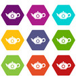 teapot icon set color hexahedron vector image