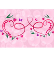 Two red floral hearts pink background vector image vector image