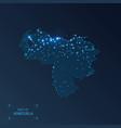 venezuela map with cities luminous dots - neon vector image