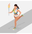 Woman running with sport torch Sporting vector image vector image