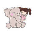 cute hand drawn elephant with girl vector image