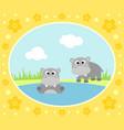 safari background card with hippopotamus vector image