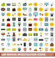 100 mining investigation icons set flat style vector image