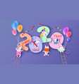 2020 happy new year design card with rats mouses vector image