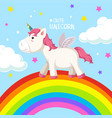 a unicorn on rainbow template vector image vector image