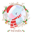 adorable elephant for christmas decoration vector image vector image