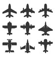airplane icons set on a white background vector image vector image