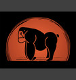 angry gorilla standing side view graphic vector image