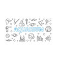 aquarium horizontal banner in thin line vector image vector image