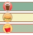 Banners fast food with cola hamburger and fries vector | Price: 1 Credit (USD $1)