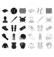 baseball and attributes blackoutline icons in set vector image vector image