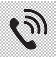 black ringing phone icon on transparent vector image vector image