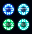blue and green neon light circles set vector image vector image