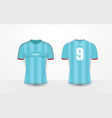 blue stripe and red sport football kits t-shirt vector image vector image