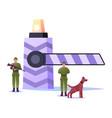 border guard characters with gun and dog protect vector image