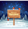 Bullfinches on wooden sign Christmas background vector image vector image