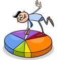 businessman on circle chart cartoon vector image vector image