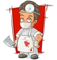 Cartoon evil surgeon in white mask vector image vector image